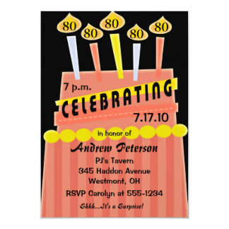 80th - 89th Birthday Party Personalized Invitation