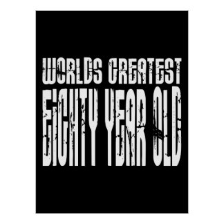 80th Birthday 80  World's Greatest Eighty Year Old Print