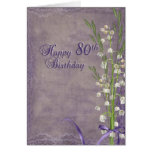 80th Birthday and lily of the valley Greeting Card
