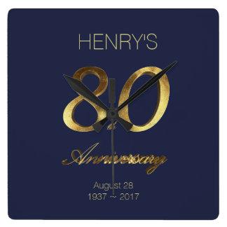 80th Birthday Anniversary Gold and Blue Elegant Square Wall Clock