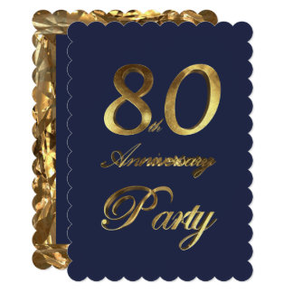 80th Birthday Anniversary Gold Elegant Card