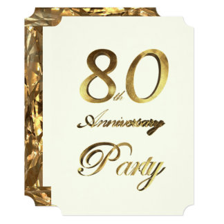 80th Birthday Anniversary Gold Ivory Elegant Card