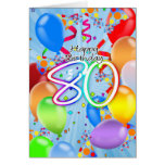 80th Birthday - Balloon Birthday Card - Happy Birt