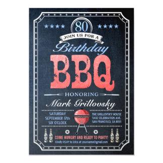 80th Birthday BBQ Invitations | Chalkboard