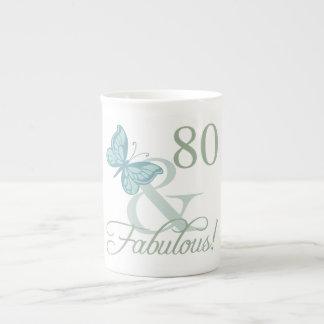 80th Birthday Butterfly Bone China Mug