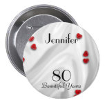 80th Birthday Button / Pin, Small Red Hearts