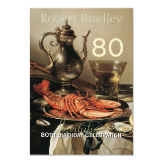 "80th Birthday Celebration Customizable Invitation 3.5"" X 5"" Invitation Card"