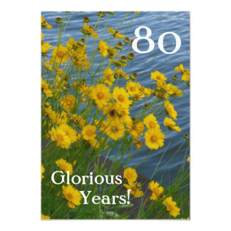 80th Birthday Celebration/Cute Yellow Floral+Water Card