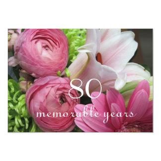 80th Birthday Celebration!-Pink Flowers Custom Invitation