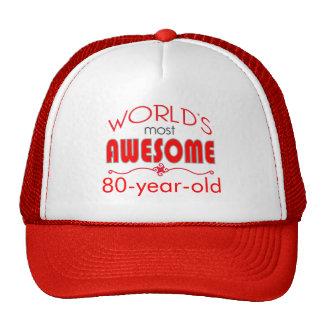 80th Birthday Celebration World's Best Bright Red Cap