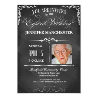 80th Birthday Chalkboard Typography Party Invite