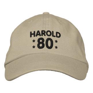 80th Birthday Custom Name KHAKI and BLACK H80D Embroidered Cap
