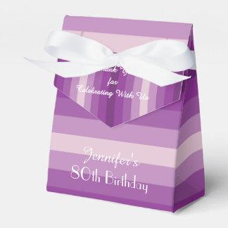 80th Birthday Favor Box, Purple Stripes Favour Box