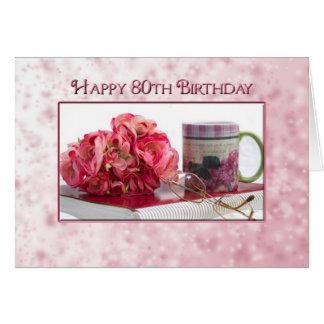 80th Birthday - Female - Rose/book/mug Greeting Card