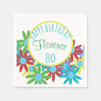 80th Birthday Floral Personalized Disposable Napkins