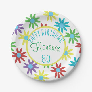 80th Birthday Floral Personalized Paper Plate