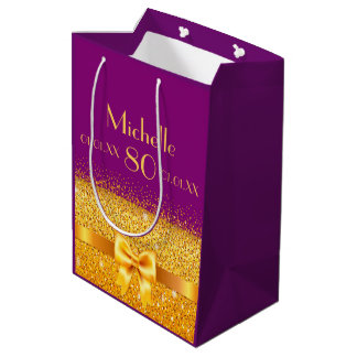 80th birthday gold bow on violet name and age medium gift bag