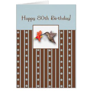 80th Birthday Hummingbird Card