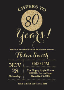 80th Birthday Invitation Black And Gold Glitter