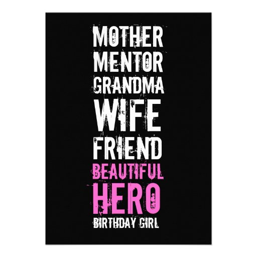 80th Birthday Invitation - Mom Beautiful Hero