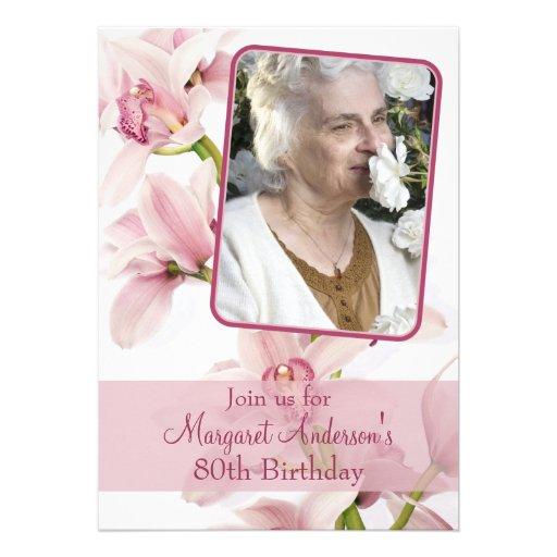 80th Birthday Invitation   Photo   Pink Orchid