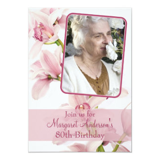 80th Birthday Invitation | Photo | Pink Orchid