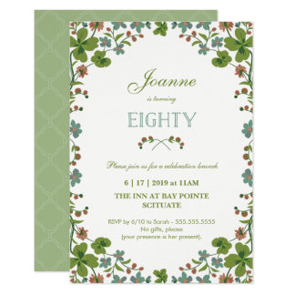 80th Birthday Invitation, Vintage Floral Eightieth Card
