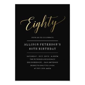 80th Birthday Invitations -  Formal Faux Gold