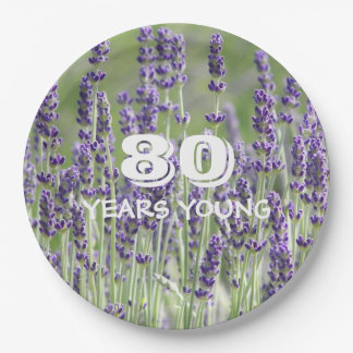 80th Birthday Lavender Floral 9 Inch Paper Plate