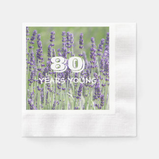 80th Birthday Lavender Floral Disposable Napkin