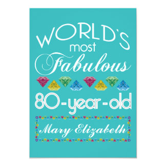 80th Birthday Most Fabulous Colorful Gem Turquoise 13 Cm X 18 Cm Invitation Card