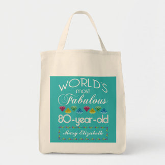 80th Birthday Most Fabulous Colorful Gem Turquoise Tote Bag