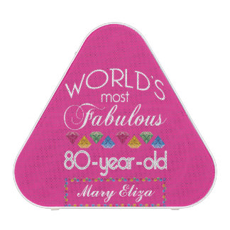 80th Birthday Most Fabulous Colorful Gems Pink Speaker
