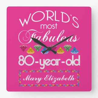 80th Birthday Most Fabulous Colorful Gems Pink Wall Clock