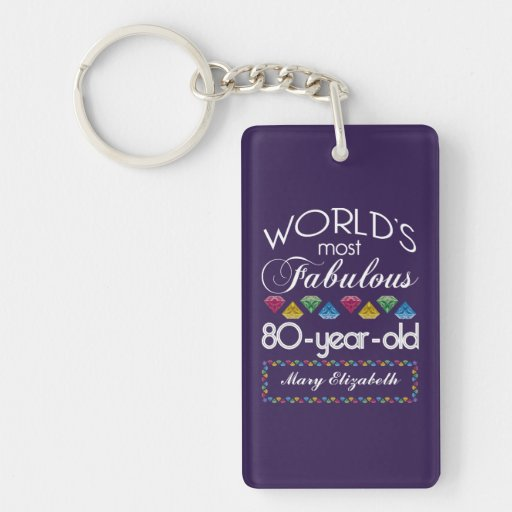 80th Birthday Most Fabulous Colorful Gems Purple Keychain