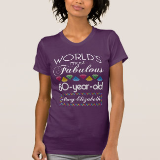 80th Birthday Most Fabulous Colorful Gems Purple T-Shirt