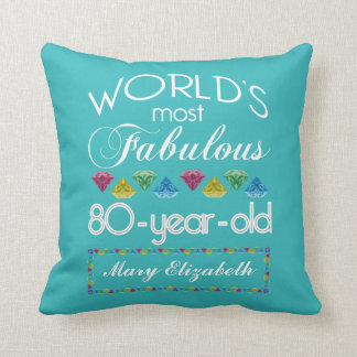 80th Birthday Most Fabulous Colourful Gem Cushion