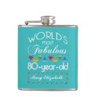80th Birthday Most Fabulous Colourful Gem Hip Flask