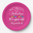 80th Birthday Most Fabulous Colourful Gems Pink Paper Plate