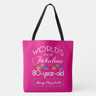 80th Birthday Most Fabulous Colourful Gems Pink Tote Bag