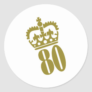 80th Birthday - Number – Eighty Classic Round Sticker