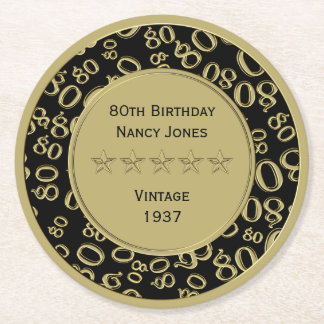 80th Birthday Party Black and Gold Theme Round Paper Coaster
