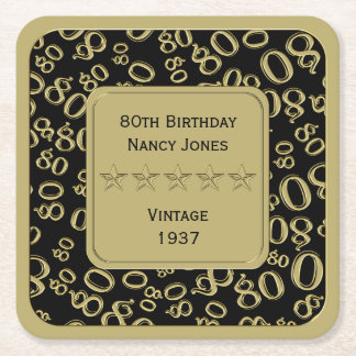 80th Birthday Party Black and Gold Theme Square Paper Coaster