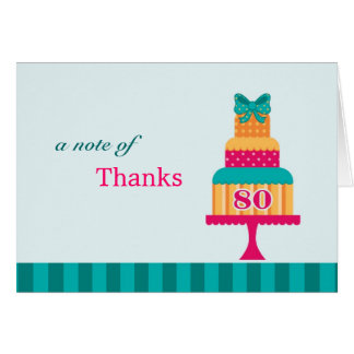 80th Birthday Party Cake Thank You Card