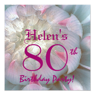 80th Birthday Party Dahlia Bloom Metallic Card