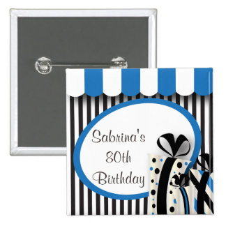 80th Birthday Party | DIY Text | Blue 15 Cm Square Badge