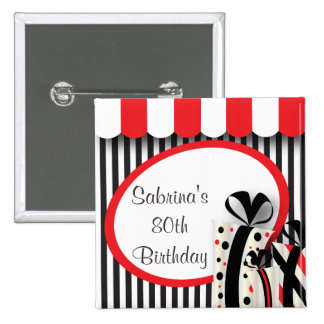 80th Birthday Party | DIY Text | Red 15 Cm Square Badge