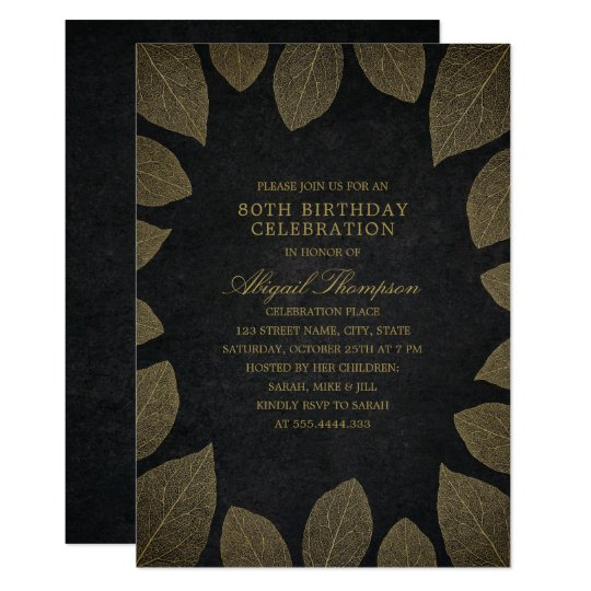 80th Birthday Party Elegant Black Gold Leaves Card