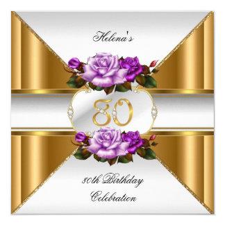 80th Birthday Party Elegant Purple Gold Roses B 13 Cm X 13 Cm Square Invitation Card