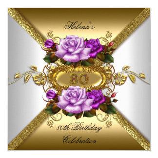 80th Birthday Party Elegant Roses Purple Gold 2 13 Cm X 13 Cm Square Invitation Card